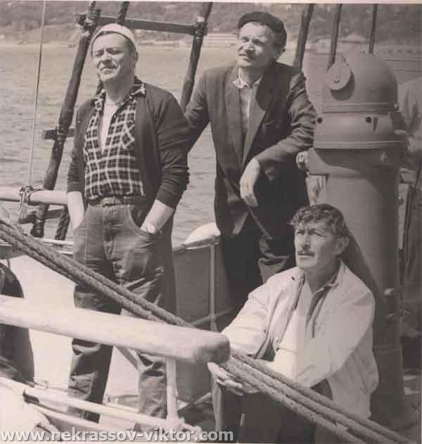 Леонид Волынский, Станислав Славич, Виктор Некрасов. Ялта, середина 1960-х